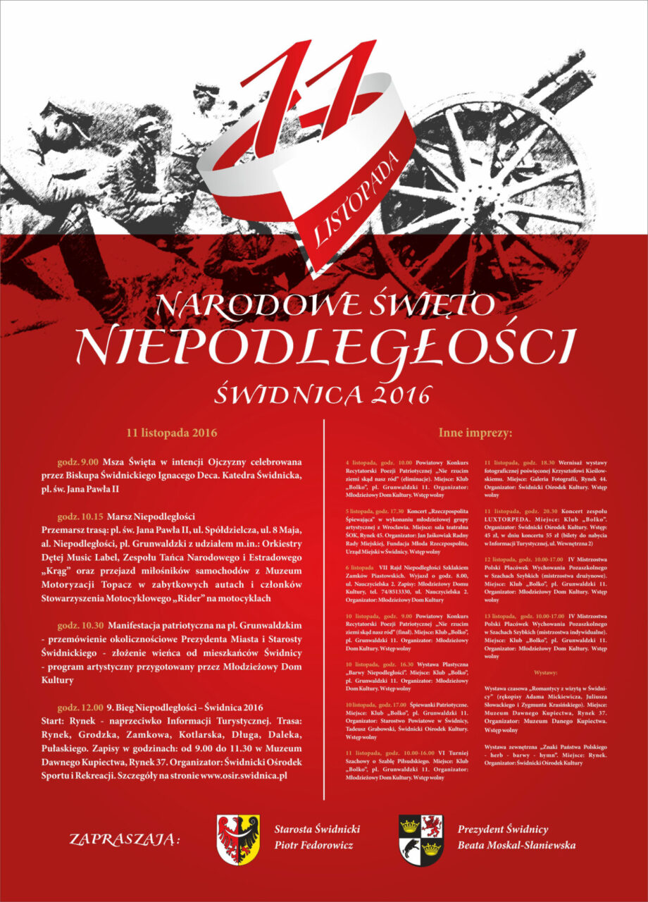 Narodowe Święto Niepodległości - Świdnica 2016 - ZAPRASZAMY