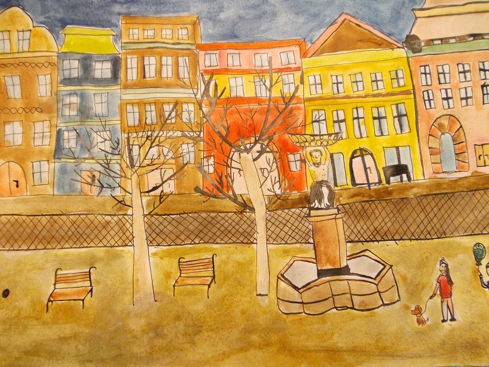 """""""MOJE MIASTO"""" - Świdnica namalowana przez Olę i Hanię."""
