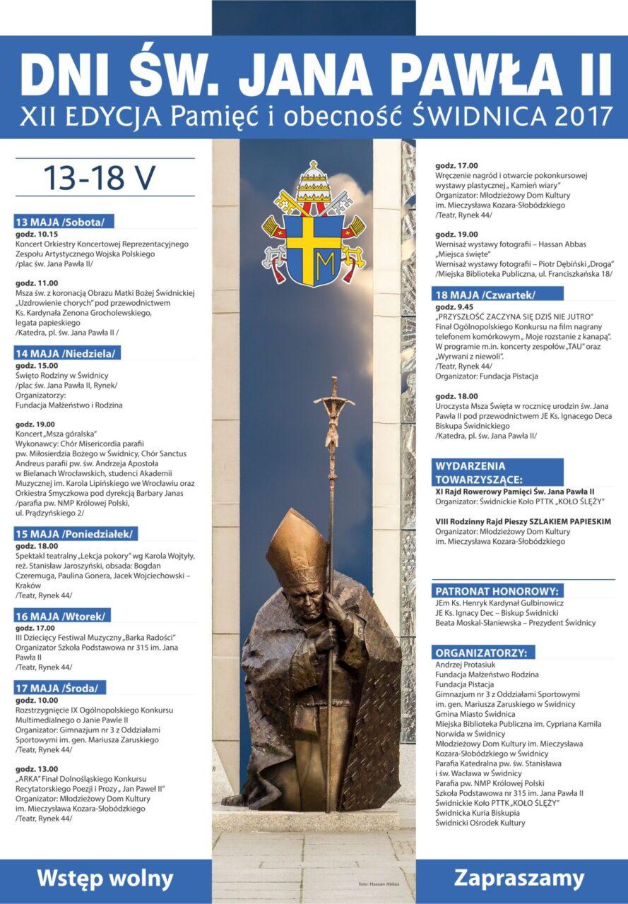 Dni Św. Jana Pawła II, XII Edycja Pamięć i Obecność Świdnica 2017