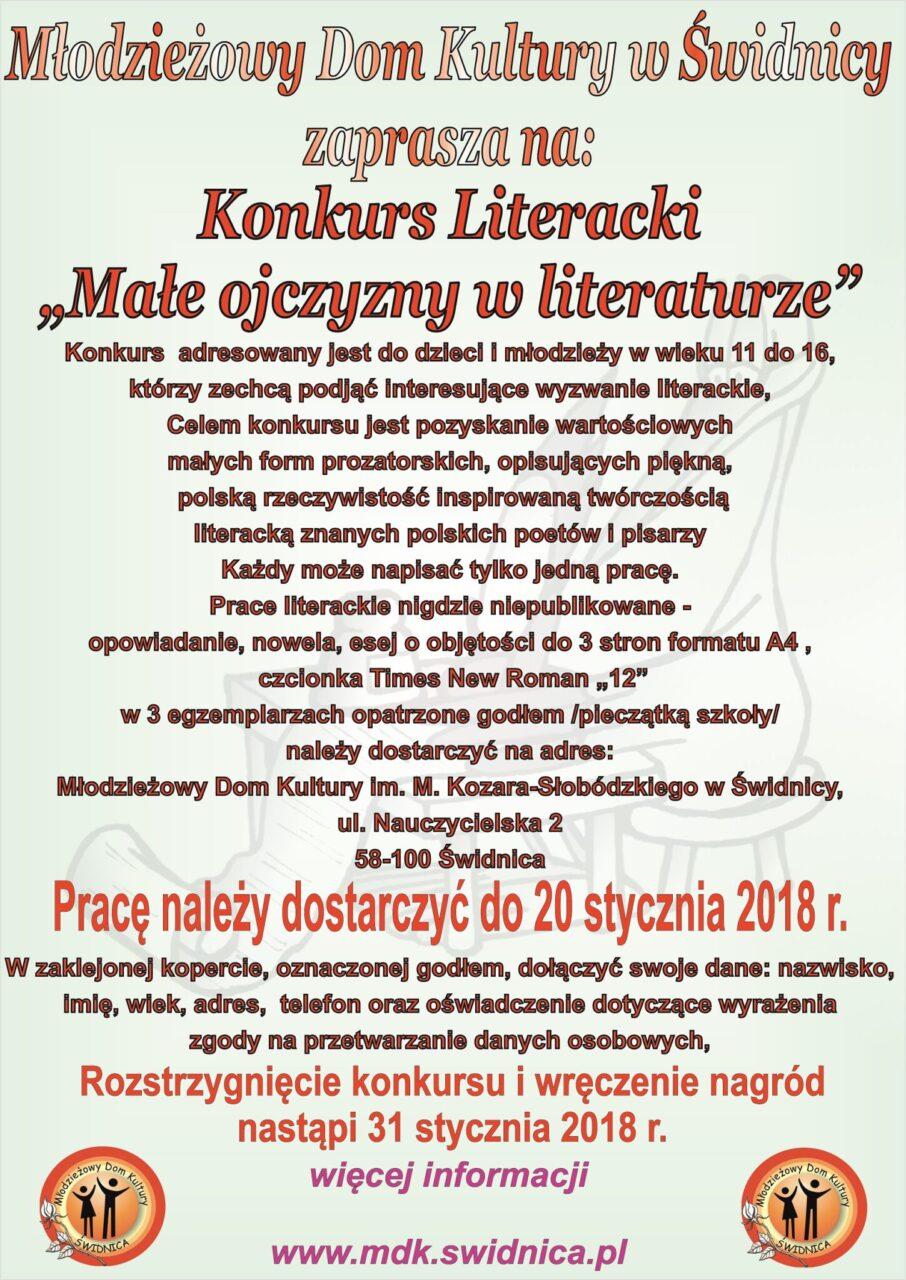 """Konkurs literacki """"Małe Ojczyzny w literaturze"""""""