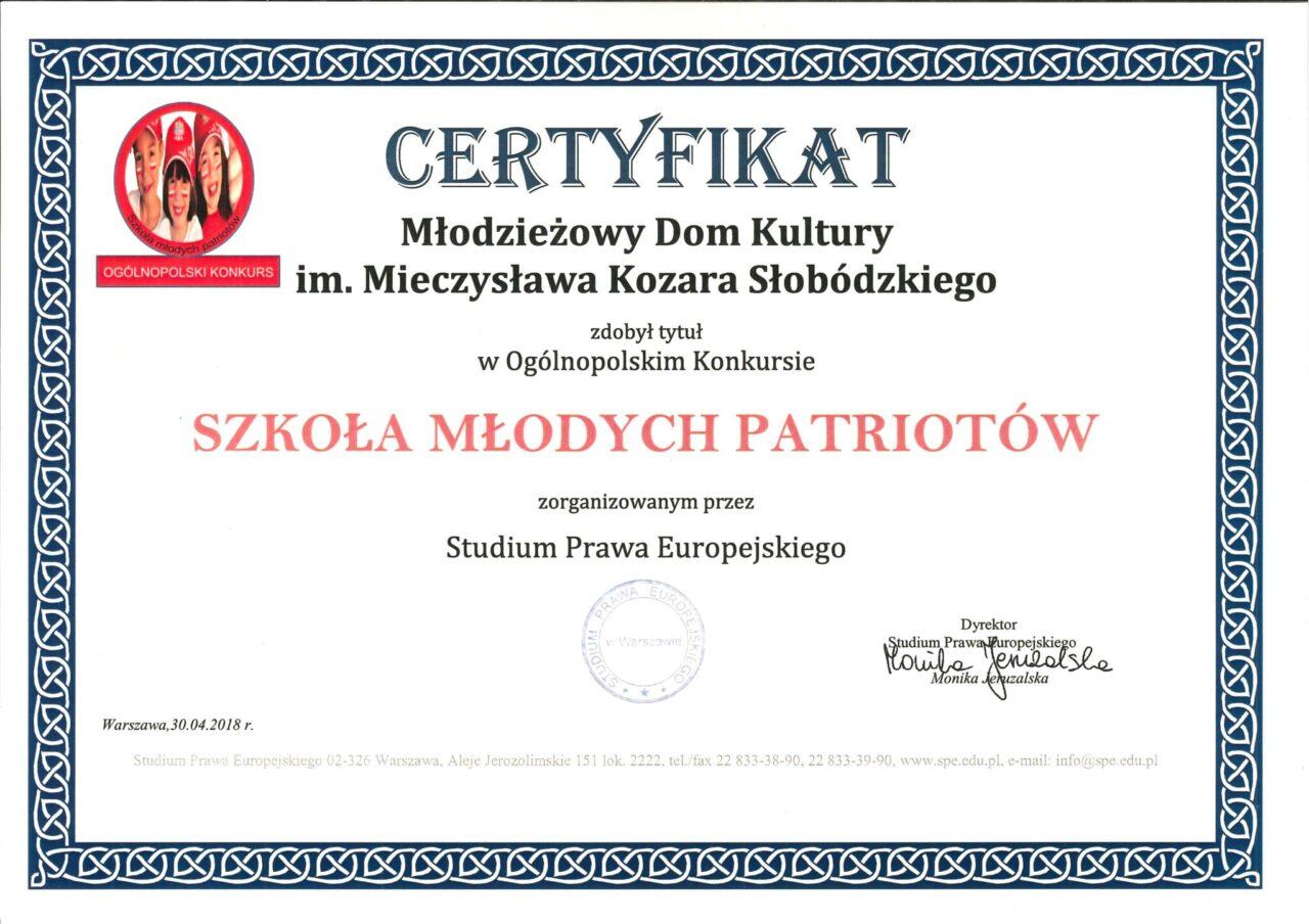 """Certyfikat """"Szkoła Młodych Patriotów"""""""