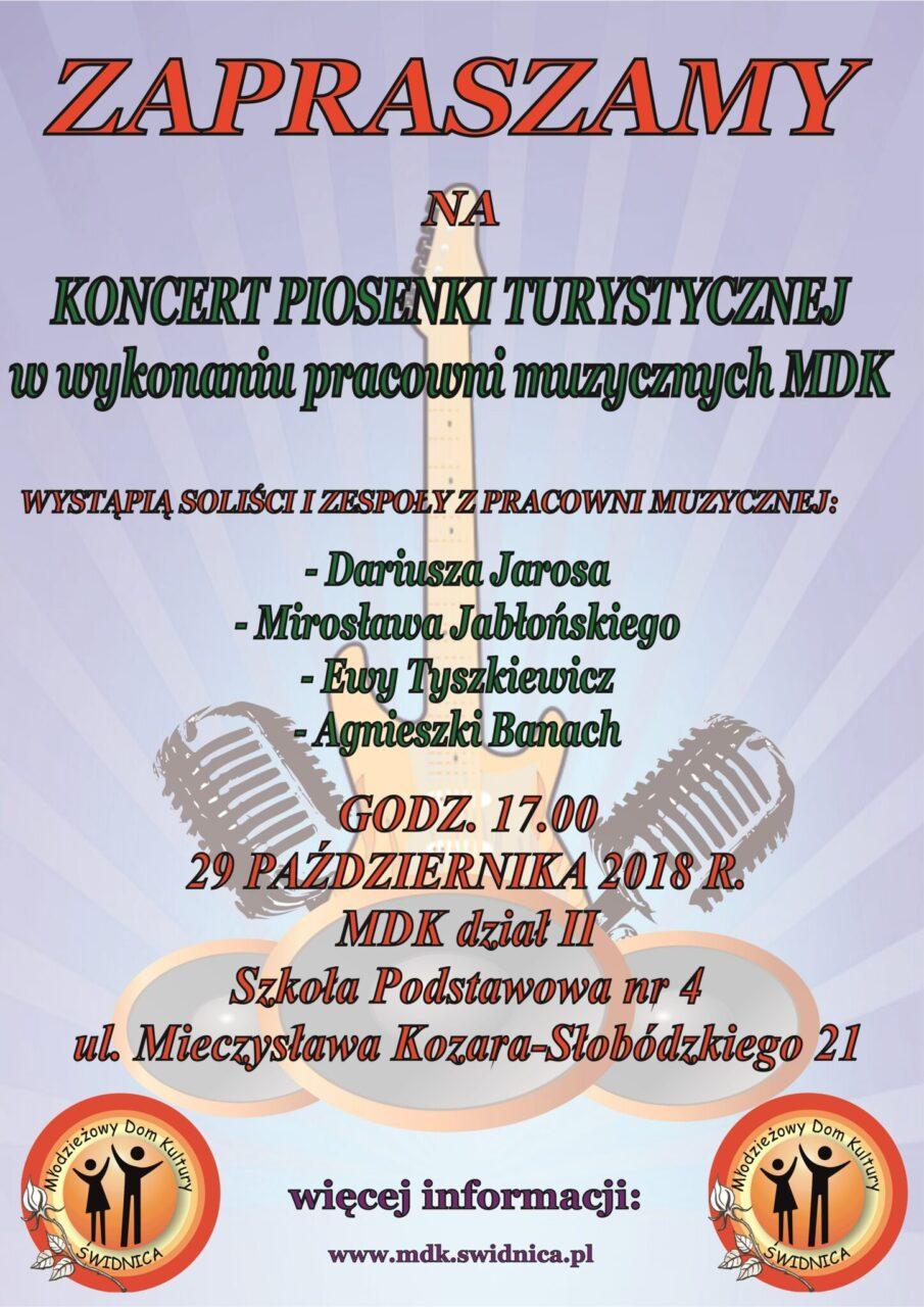 Koncert Piosenki Turystycznej w wykonaniu pracowni muzycznych MDK