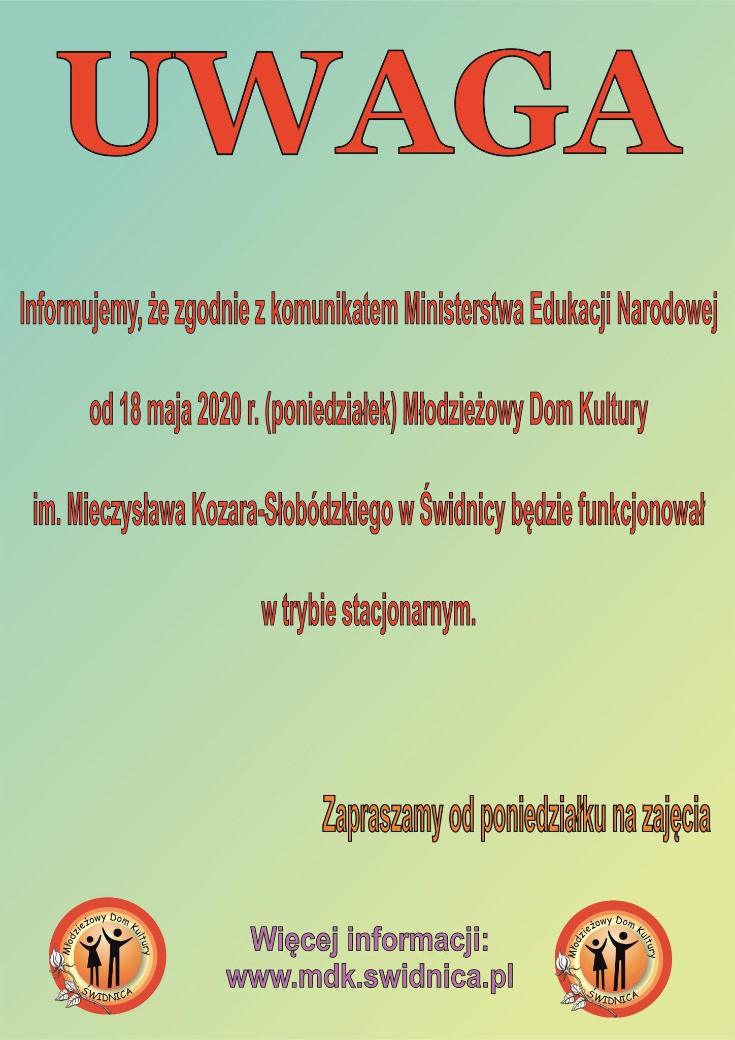 Komunikat Ministerstwa Edukacji Narodowej - od 18 maja otwarty MDK