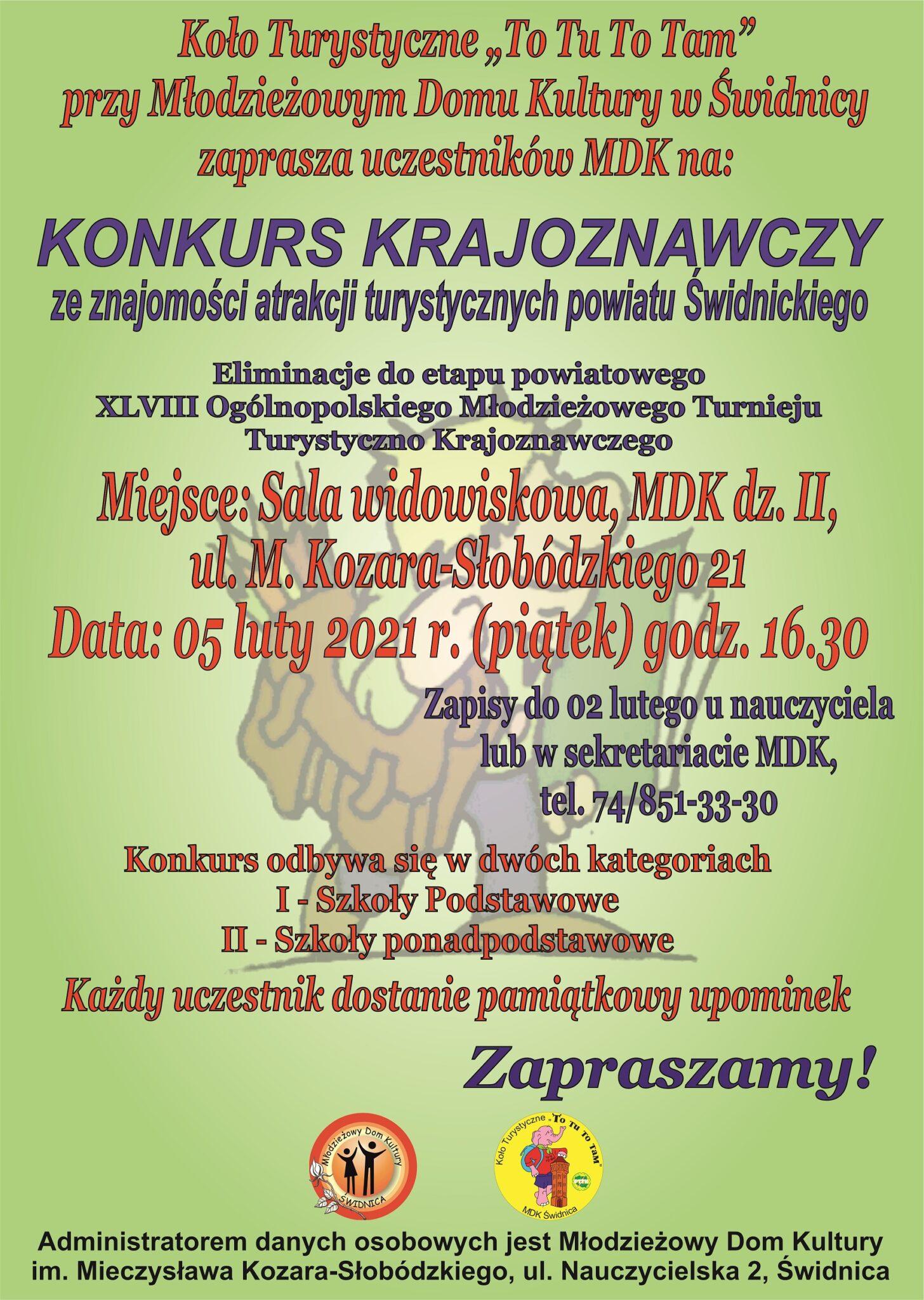 Konkurs Krajoznawczy ze znajomości atrakcji turystycznych powiatu Świdnickiego