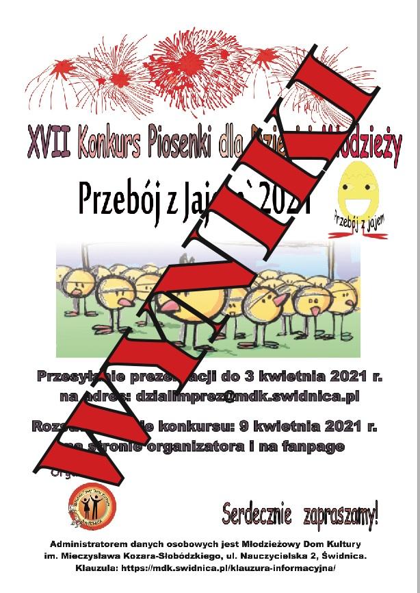 """WYNIKI !!! XVII Konkurs Piosenki dla Dzieci i Młodzieży """"PRZEBÓJ z JAJEM`2021"""""""