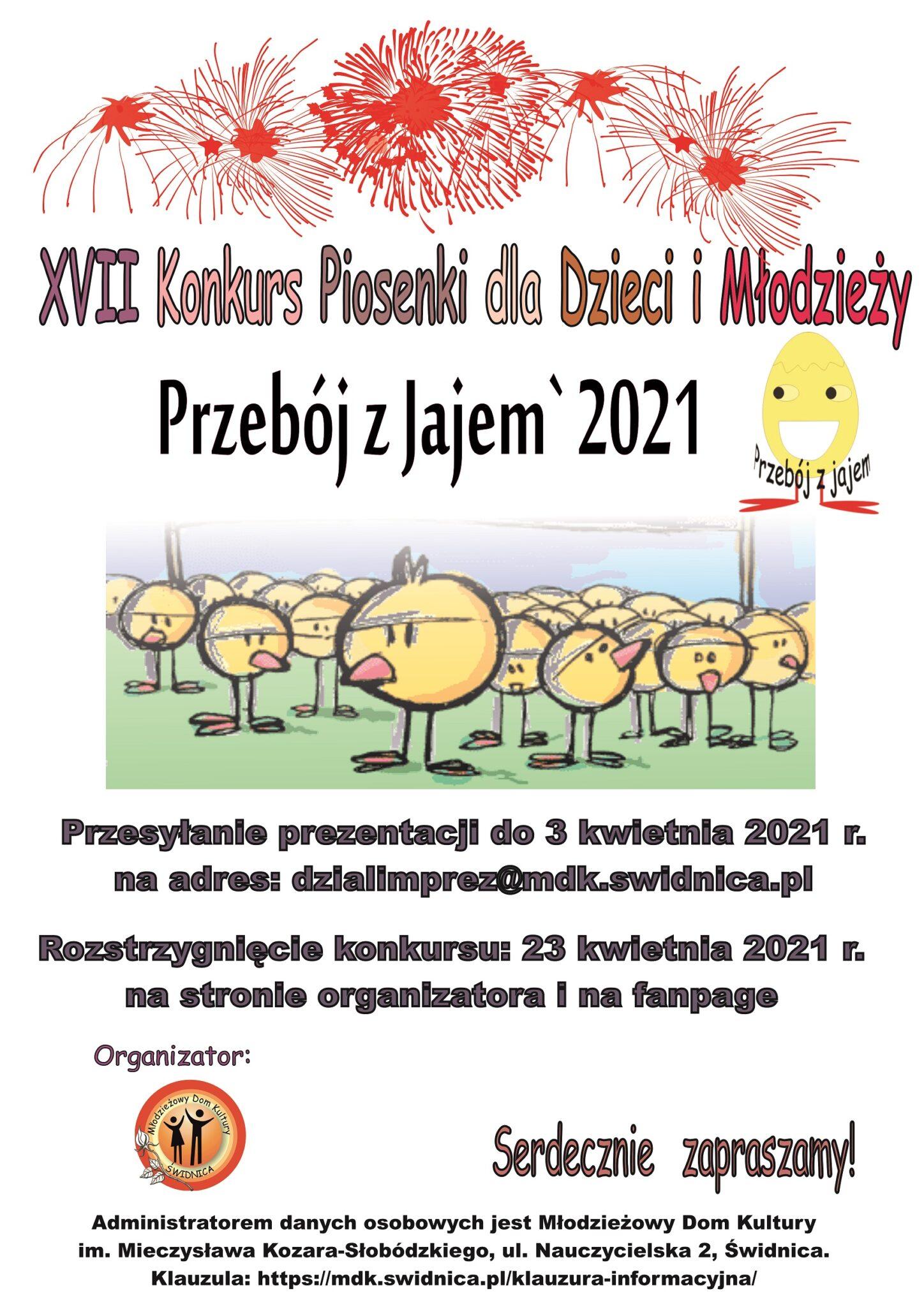"""XVII Konkurs Piosenki dla Dzieci i Młodzieży """"PRZEBÓJ z JAJEM`2021"""" on line"""
