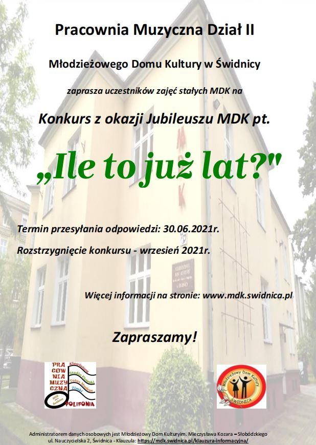 Plakat konkursowy z okazji Jubileuszu MDK