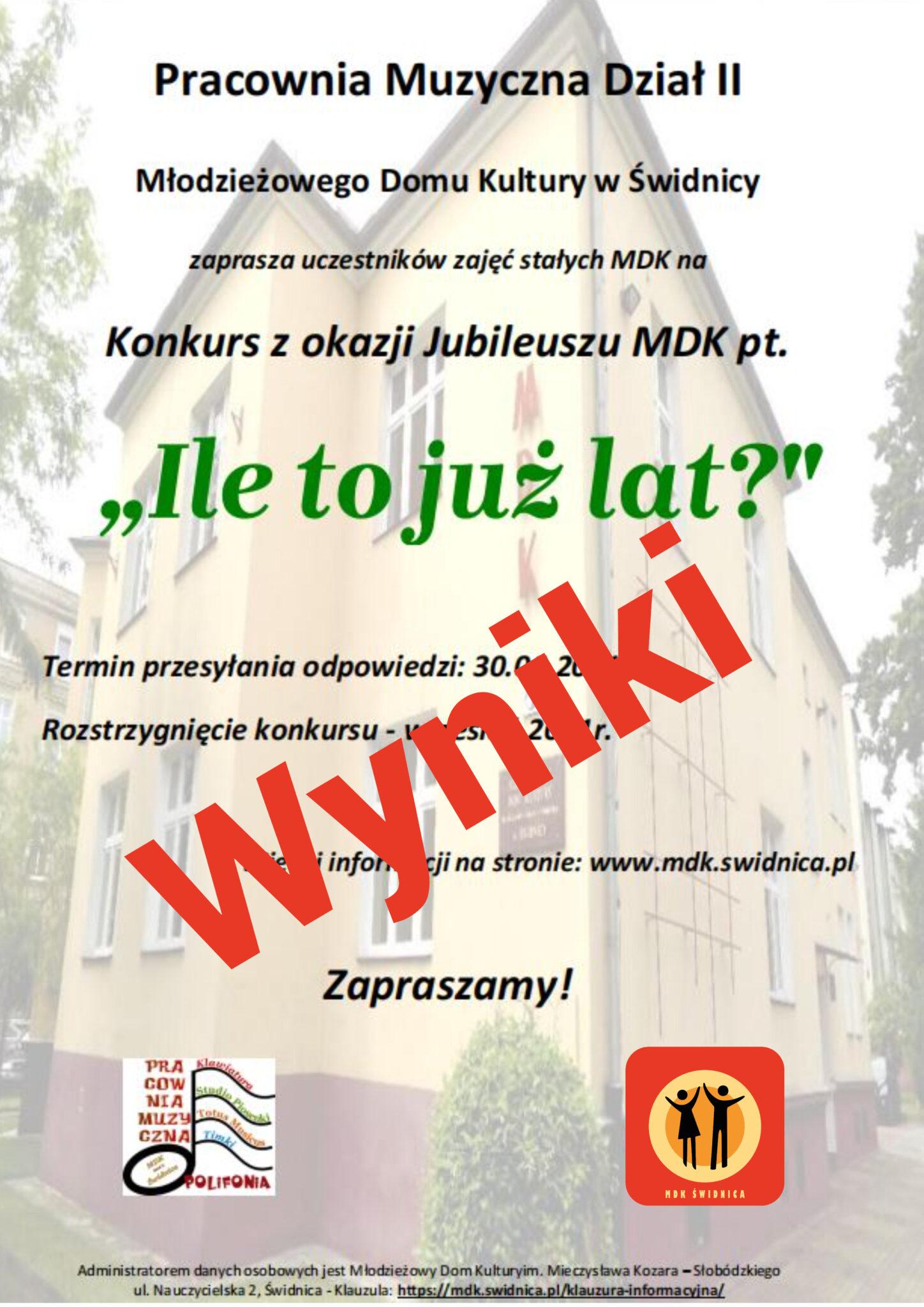 """""""Ile to już lat?"""" – Konkurs z okazji jubileuszu MDK rozstrzygnięty!"""