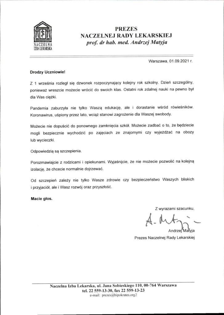 List Prezesa Naczelnej Rady Lekarskiej do Uczniów i Rodziców.